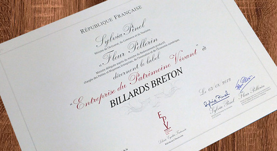 Label EPV de l'entreprise Billards Breton
