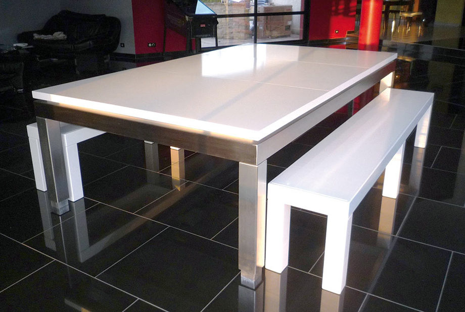 Table de billard blanche Manhattan de Billads Bréton transformé en table de salon