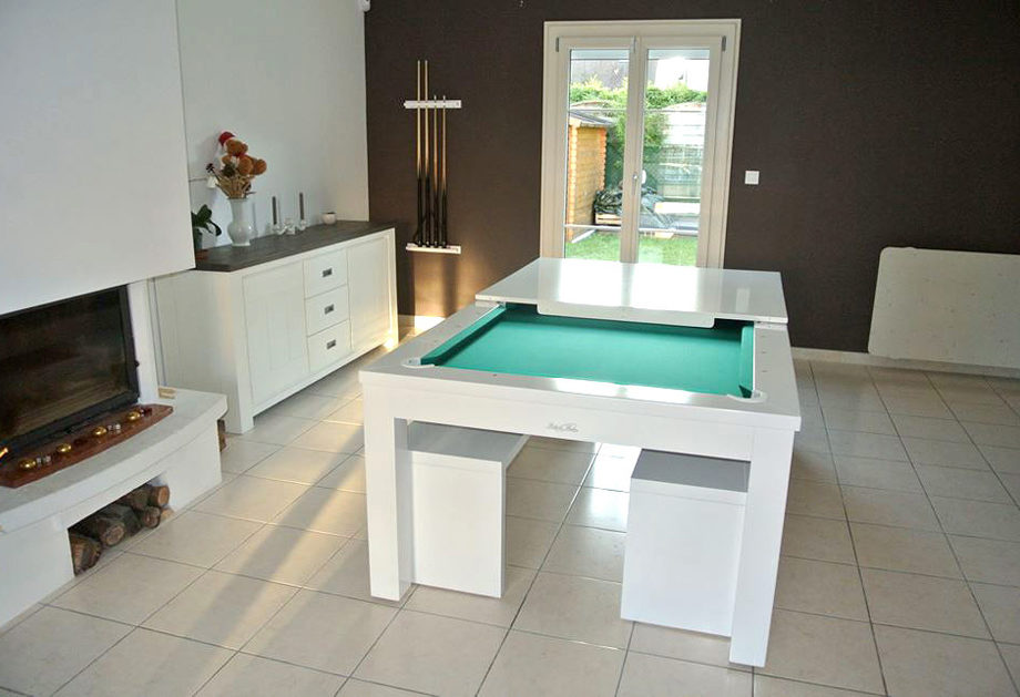 Table de billard Neo contemporain de Billards Bréton convertible en plateau dinatoire