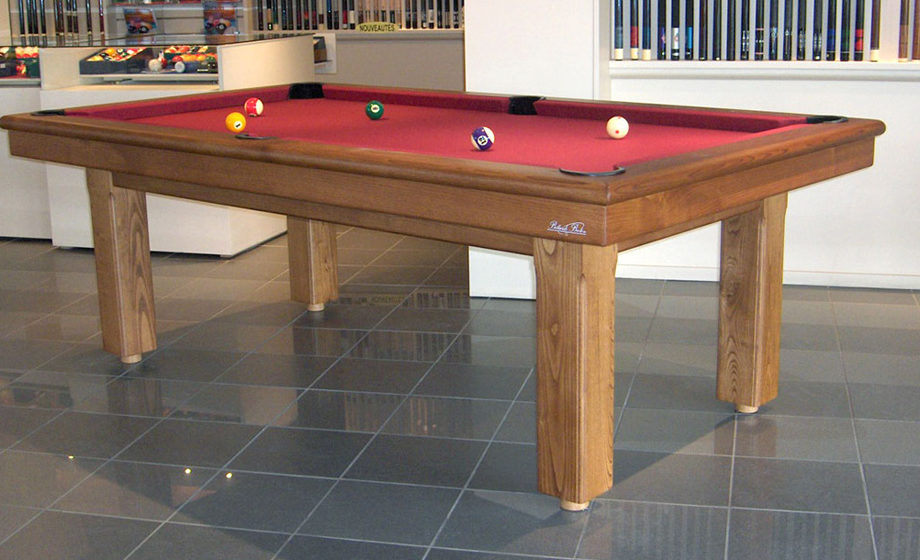 billard orion en chataigner et drap rouge