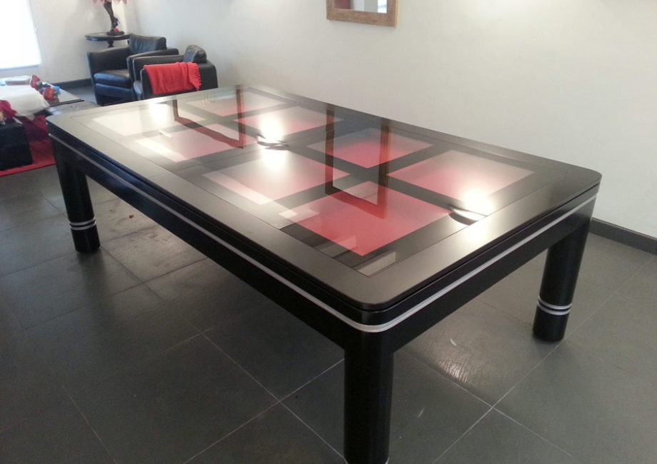 Table de billard Verso design de Billards Bréton convertible en table en verre