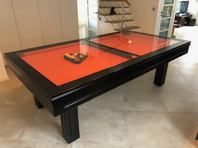 Table de billard convertible equinoxe design noir et orange